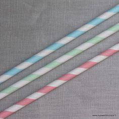 Jolies pailles rétro  à rayure  couleurs pastel - 4 coloris  mysweetboutique.fr