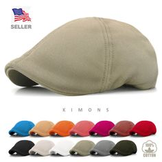 7ddfdd494af7c Solid Cotton Gatsby Cap Mens Ivy Hat Golf Driving Summer Sun Flat Cabbie  Newsboy  Kimons