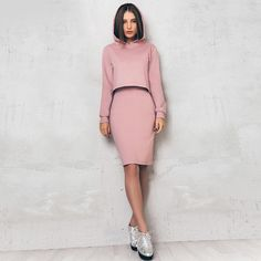 Sporty Pink 2 Piece Skirt and Hoodie Set for Women