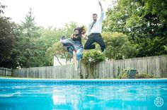 Jumping in the pool Engagement shoot | Syracuse Wedding Photographer
