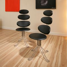 Ultra Modern Dining Chairs set of 2 designer quatropi dining chairs black faux leather chrome