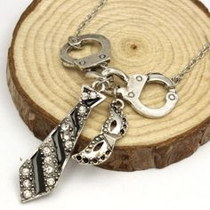 50 Shades of Grey Darker Handcuff Necklace - Silver plated