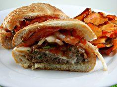 Blue Cheese Burgers with Steak Sauce Tomatoes & Onions  I   thetastyfork.com  #burgerrecipe #dinnerrecipe #stuffedburger