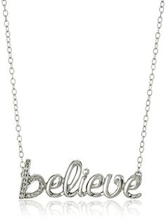 """Sterling Silver and Diamond """"Believe"""" Pendant Necklace Amazon Collection-$71.20 http://www.amazon.com"""