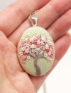 Tree-Of-Life Necklace Pendant Sakura Necklace Cherry Blossom Necklace Tree-Of-Life Jewelry Floral Pendant Necklace Nature Necklace Gift – Handwerk und Basteln Polymer Clay Ornaments, Polymer Clay Flowers, Polymer Clay Pendant, Polymer Clay Crafts, Polymer Clay Earrings, Tree Of Life Jewelry, Tree Of Life Necklace, Polymer Clay Embroidery, Necklace For Girlfriend
