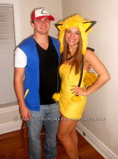 Easy Ash and Pikachu Couple Costume... This website is the Pinterest of costumes