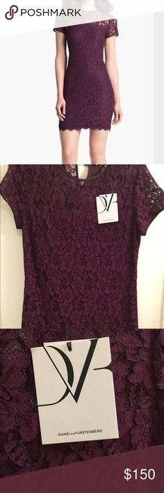 Diane Von Furstenberg Lace shift dress. Size 4. Never worn lovely DVF Barbie lace shift dress. Color, Purple Rose. Simple design, illusion neckline, cap sleeve. Diane von Furstenberg Dresses Mini