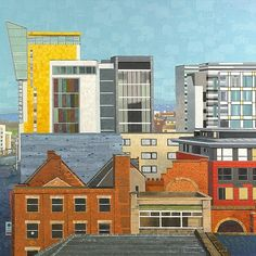 Paintings prints design and commissions by Sue Scott Manchester Northern Quarter, Manchester Art, Skyline Art, Train Station, New Wave, Graphic Prints, Print Design, Landscape, Architecture