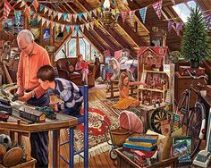 """Attic Treasures"" ~ a 1000 piece jigsaw puzzle by White Mountain Puzzles. Artist: Steve Crisp"