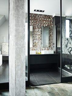 Louis and Sarah Bonard, Parisian Loft.  Concrete, bricks, and glass give an industrial modern look