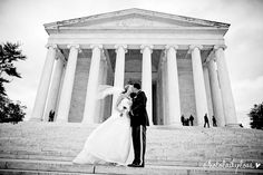 Windswept at the Jefferson Memorial. | Photo Lady Love Photography | Ella Rosa Style BE118 #kennethwinston #realbride