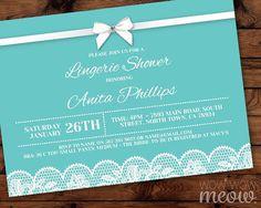 Blue Lingerie Shower Invitations Lace White Bow Diamante