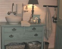 I love this bathroom cabinet and sink, color and style and beadboard horizontally....love
