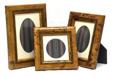 3 New Marlborough Collection Polished Burl Wood Marquetry Photo Picture Frames   eBay