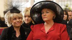 Peggy Mitchell and Pat Harris Wicks Butcher Evans played by Barbara Windsor and Pam St. Clement.