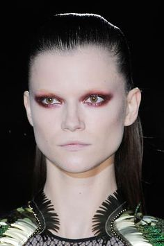Fashion runway makeup red eyeshadow/ smokey eye gorgeous