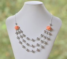 Bridesmaid Jewelry Coral Orange Triple Strand Grey by RusticGem, $64.00