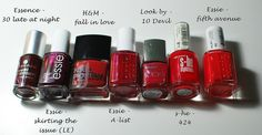 9 shades of red. Nail polish from Essie, S-he, H, Essence, Look by Bipa. More here: http://www.mitmilch.at/pixi/archives/6620