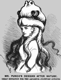 """Early """"Cthulu"""" from April 1873 issue of an London Magazine, a cartoonist  satire on current hair styles , Octopus Coiffure"""
