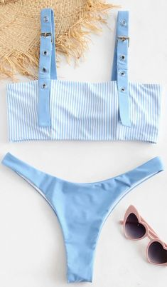 ZAFUL Striped Buckle High Leg Bikini Set - Light Sky Blue M bikinis bikini for small chest,swimwear to enhance small bust,Best Bikinis This Summer's Best High Leg Bikini, Push Up Bikini, Bikini Set, Swimwear Fashion, Bikini Swimwear, Swimsuits, Summer Bathing Suits, Cute Bathing Suits, Zaful Bikinis