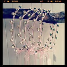 Rosebud hair garlands by BloomingLoopy.com - in Ivory with Pink ribbons - made to measure (wide choice of colours available)