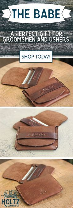 The Babe Front Pocket Wallet is the perfect gift for your groomsmen on the big day! This wallet fits comfortably in the front pocket of men's jeans and holds 6 cards and cash comfortably. This is a gift he will use and love for a lifetime.