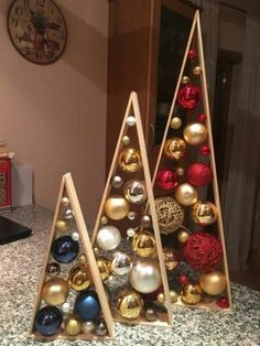 25 Rustic Stained A-frame Christmas Tree Ornament Display/ Ornament Hanger 14 This item is perfect for your own home décor and also makes a wonderful gift! Great for Christmas Easy Christmas Decorations, Rustic Christmas, Christmas Projects, All Things Christmas, Simple Christmas, Christmas Tree Ornaments, Christmas Holidays, Modern Christmas, New Years Decorations