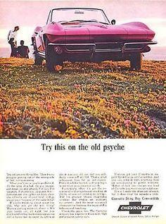 1965 Corvette Sting Ray Convertible Chevrolet Automobile Sports Car Ad