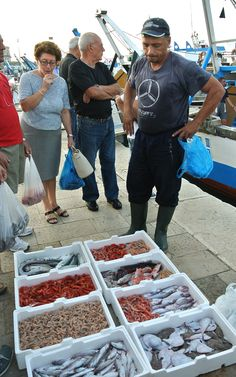 Fresh seafood sold on the docks at Gallipoli, Italy