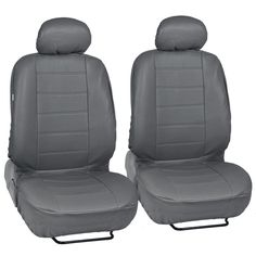 Gray Synthetic Car Leather Seat Covers Front Pair Set of 2 - Premium Leatherette
