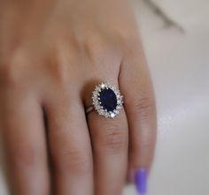 Handmade Princess Diana ring 5.0 carat midnight blue Ceylon Sapphire 1.2 carat diamonds Payment Plan is available.. $6,750.00, via Etsy.