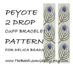 *P Peyote 2 Drop Cuff Bracelet Pattern Vol.19  by thebeadloomgallery, $4.50