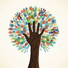 Illustration of Isolated diversity tree hands illustration. Vector file layered for easy manipulation and custom coloring. vector art, clipart and stock vectors. Hand Illustration, Clipart, Vector File, Vector Art, Eps Vector, Cultural Diversity, We Are The World, Art Plastique, Oeuvre D'art