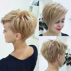 "Best Short Haircuts for Fine Hair: Stacked Pixie Haircut; pixiehaircut ""Your hair can become thinner aft Cute Short Haircuts, Haircuts For Fine Hair, Haircut Short, Short Asymetrical Haircuts, Pixie Haircut Fine Hair, Pixie Long Bangs, Short Fine Hair, Asymmetrical Pixie Cuts, Hairstyle Short"