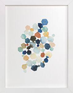 """Hexagon Cluster"" - Art Print by Yao Cheng in beautiful frame options and a variety of sizes."