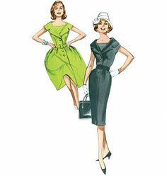 Butterick - B5747 Retro jurk in twee variaties met ceintuur | Schnittmuster-online.com | nähen und schnitte online