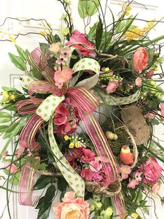 Springtime Wreaths for Front Door, Spring & Summer Wreath, Front Door Wreath with Bird, Spring Door Wreath This Spring & Summer Wreath is so sweet - it will be beautiful on your front door. As soon as you hang it, Ill bet your friends and neighbors will drop by for a peek! You cant