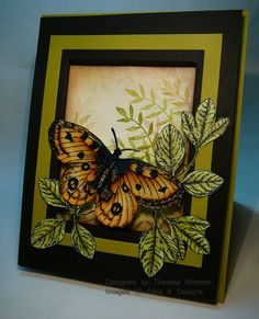 handmade card from Crafting The Web: Recessed Window Card ... realistic butterfly ... olive and black framing ... great card ...