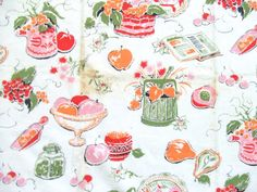 1 Yard 1950s Cotton Kitchen Fabric by TextilesandThings on Etsy, $18.00