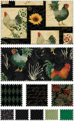 French Roosters by Rebecca Baer for Penny Rose Fabrics—Subscribe to our newsletter at http://www.rileyblakedesigns.com/newsletter/