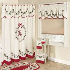 icu ~ Pin on Christmas Decorations ~ Holly Wreath Embroidered Holiday Shower Curtain