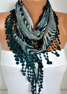 ON SALE  50 OFF  Emerald Green  Zebra  Scarf   Cotton  by fatwoman, $7.50