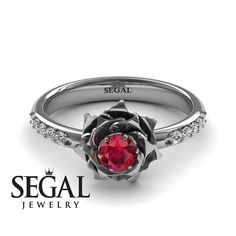 Unique Rose Engagement Ring Diamond ring 14K White Gold Flower Vintage Antique Engagement Ring Ruby With Ruby - Elena Engagement Ring