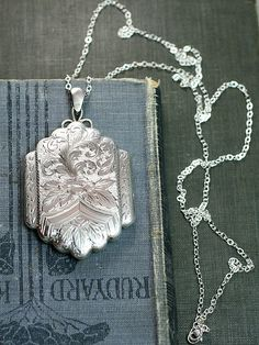 Sterling Silver Locket Necklace Extra Large Rare by TforEdgar