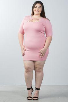 e2947180db5f Plus size cutout chest mini bodycon dress – Just Viva Plus Size Fashion  Dresses, Plus