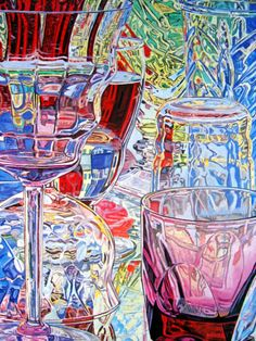 Janet Fish (born May 18, 1938) is a contemporary American Realist artist. She paints still life paintings, some of light bouncing off reflective surfaces, such as plastic wrap containing solid objects and empty or partially filled glassware.[1]