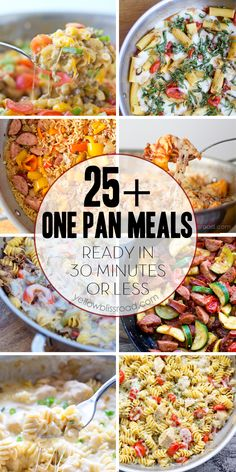 One Pan Meals; delicious meals all cooked just in one pan and in under 30 minutes! In most cases, the pasta or rice cooks right in the pan with the meats and veggies. One Pot Dinners, Cooking Recipes, Healthy Recipes, Pasta Recipes, Quick Meals, 30 Minute Meals, I Love Food, Food Dishes, Yummy Food