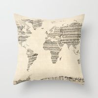 Throw Pillow featuring Old Sheet Music World Map by ArtPause