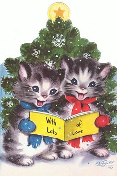 Two Kittens Reading a Book – Christmas DIY Holiday Cards Christmas Kitten, Old Christmas, Old Fashioned Christmas, Christmas Animals, Retro Christmas, Beautiful Christmas, Christmas Decor, Vintage Greeting Cards, Christmas Greeting Cards