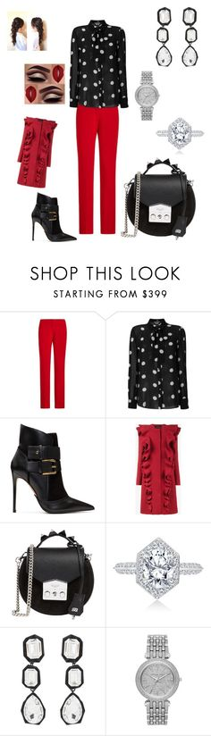 """Red, Black, & White!!"" by njordan96 ❤ liked on Polyvore featuring Ralph Lauren Collection, Boutique Moschino, Balmain, Giambattista Valli, SALAR, AMBUSH and Michael Kors"